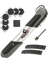 KOLO Sports 120 psi | Mini inflador de bicicleta telescópico de aluminio con montaje en cuadro y mango ergonómico | Kit de reparación y aguja para pelota gratis | Compatible con válvulas Presta y Schrader
