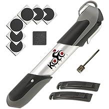 KOLO Sports 120 psi   Mini inflador de bicicleta telescópico de aluminio con montaje en cuadro y mango ergonómico   Kit de reparación y aguja para pelota gratis   Compatible con válvulas Presta y Schrader