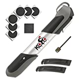 Premium Mini Bicycle Pump By Kolo Sports - Bike Tire Repair Essentials Kit - Frame Mounted 120 Psi Aluminum Telescopic Pump - Presta and Schrader Reversible Valve - Patches and Ball Needle