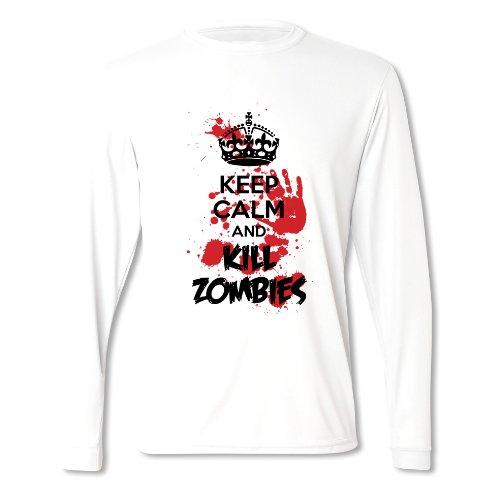 Herren Bleib Locker Und Bring Nen Zombie Um Halloween Langärmliges T-Shirt Weiß