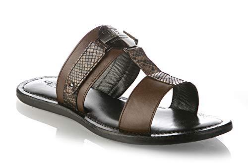 FIORANGELO 6706 Herren Sommer-Sandalen, Leder, Braun, Braun (braun), 40 EU - Pointy Toe Knee High Boots