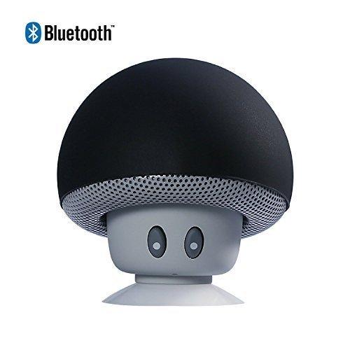 HanLuckyStars Nuevo y Lindo Mushroom Altavoz Bluetooth Portátil ,con Ventosa Manos Libres Micrófono,Altavoz Sonido Estéreo Impermeable Inalámbrico para Ducha/Piscina/Coche/baño, Compatible con Apple, iPhone 6/6S, iPad, iPod, Samsung, HTC, Blackberr, Google, LG, Nexus, Tableta, Android y Windows Smartphone, todos los móvil con Bluetooth / Dispositivos Bluetooth (Negro)