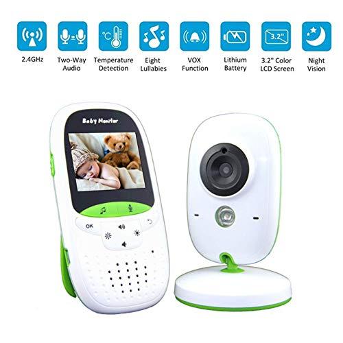BABY MONITOR ZLMI Moniteur pour bébé Surveillance de la température Portable Interphone Vocal sans Fil Dispositif de Soins de bébé Appareil Photo multilingue Musique intégrée Affichage 3.2lcd