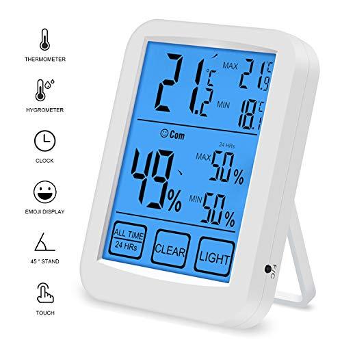 QUTAII Termómetro Higrómetro de Interior, Medidor de Digital Temperatura Humedad con Pantalla táctil...