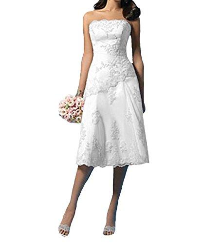 O.D.W Frauen Appliques Spitze Hochzeitskleider Kurze Vintage Brautkleider (Elfenbein 3, 48)