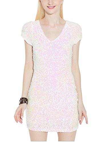 Brinny femme V-col robe mini robe robe soirée robe à paillettes manche courte Blanc