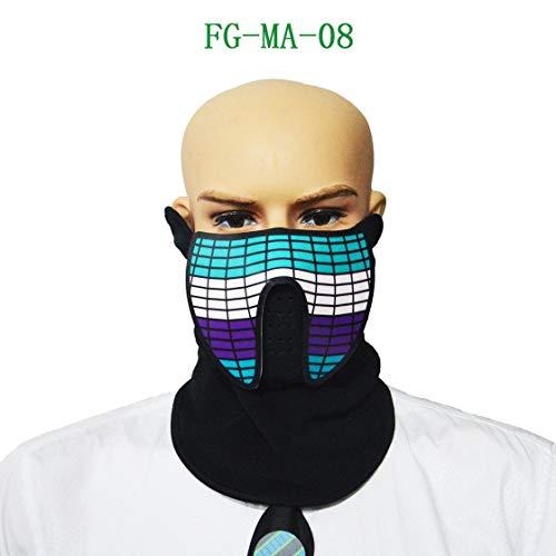 Sound Aktiviert Maske LED Leucht Maskerade Maske Horror Terror Kaltlicht Maske Halloween Festival Party Kostüm Spielen ()