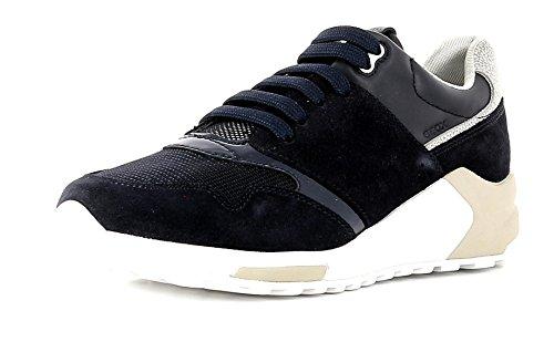 Geox Damenschuhe D724DA Phyteam Sportlicher Damen Sneaker, Wedgesneaker, Schnürhalbschuh mit Verstecktem Keilabsatz IM Schuh Blau (Navy/Silver), EU 37 (Leder-hi-low Rock)