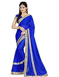 Onlinehub Georgette Saree With Blouse Piece (Blue_Free Size)