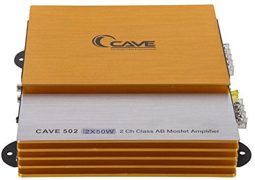 Cave 2-Channel Car Audio Mini High Power Amplifier Performance Auditor Systems 3500 Watts Class AB Mosfet, Colour: Golden & Sliver, Cave 62