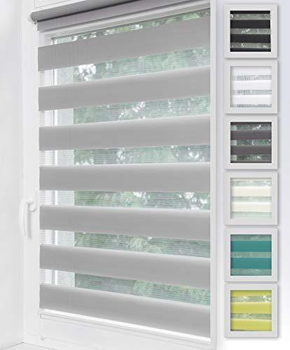 Home-Vision Duo Rollo Klemmfix, Doppelrollo ohne Bohren, Rollos für Fenster & Klemmträger (Grau, B105cm x H150cm)