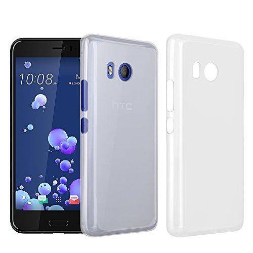 HTC U 11 Custodia, RIFFUE Copertura Protettiva Posteriore Opaca Chiara di Gel a Silicone Sottile Flessibile TPU Ultra Morbido per HTC U11 - Bianco