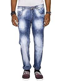 JUGEND Light Blue Faded Stretchable Regular Fit Jeans for Men