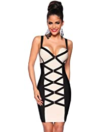 Hochwertiges Bandage Shape Kleid Minikleid in Schwarz Beige 34,36,38,40,42