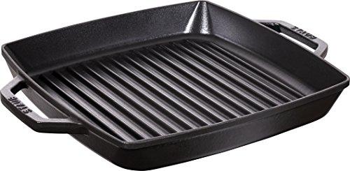 Staub 40511-683-0 Grillpfanne, rechteckige mit zwei Griffen, 28 cm, Gusseisen, schwarz