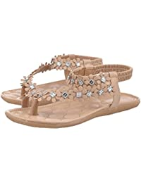 Sandalen Damen,Binggong Frauen Sommer Böhmen Blume Perlen Flip-Flop Schuhe  Stilvoll Flachen Sandalen 13bc226784