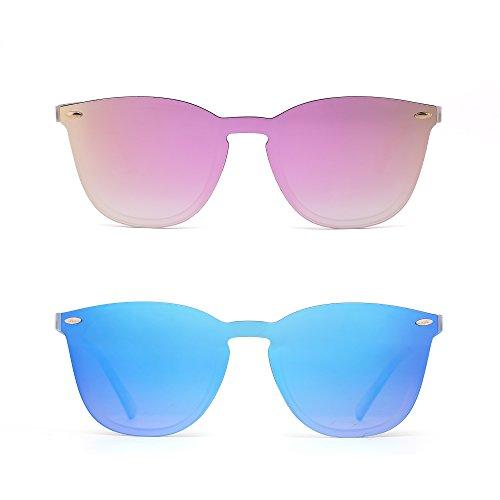JIM HALO Randlos Sonnenbrille Ein Stück Spiegel Reflektierend Brille für Damen Herren 2 Stück (Spiegel Pink & Spiegel Blau) -