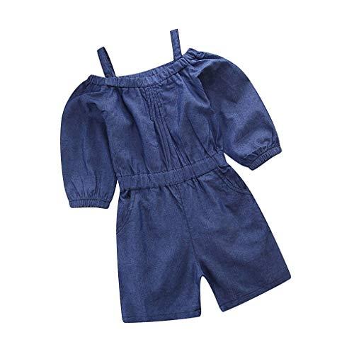 Dresses for Girls Kinder Kleider Kleidung Sommerkleid Mädchen Strampler Kleidung Volltonfarbe Denim Jumpsuit Overalls Outfit Set Babykleidung Mädchen Pwtchenty Sommer Kleidung Set