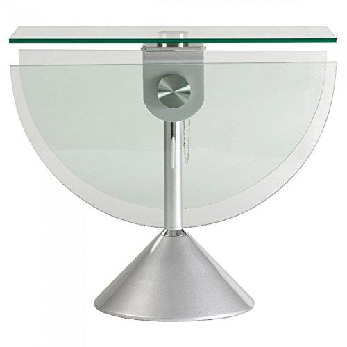 Crespo Decoración Mesa de Comedor Redonda Plegable de Acero y Cristal de 125 cm. Mod. DERCO