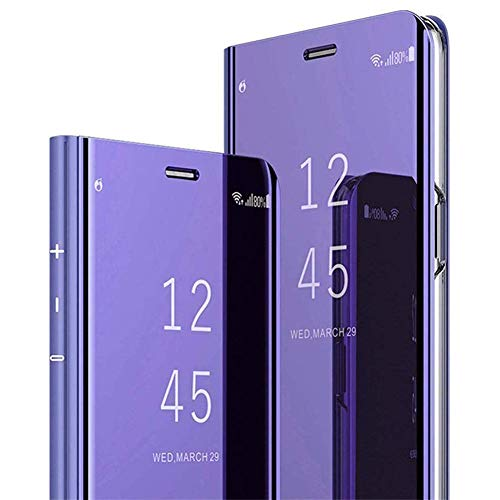 JAWSEU Make-up-Klappetui für Huawei P30 Lite, aus PU-Leder Mirror PU Purple