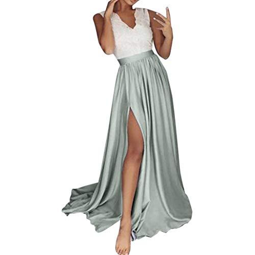Preisvergleich Produktbild Onceal Frauen Pailletten Prom Party ballkleid sexy Abend Brautjungfer v-Ausschnitt Spitze langes Kleid (M,  Grau)