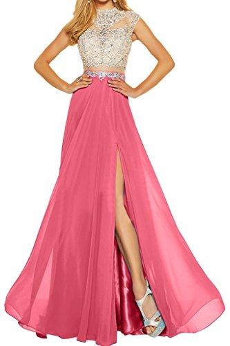 ivyd ressing robe robe deux partie mousseline et pierres tuell A ligne Party Prom Lave-vaisselle robe robe du soir Rose