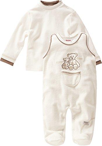 Schnizler Unisex Baby Strampler Set Nicki, Mama und Baby Bär, 2 - tlg. mit Langarmshirt, Oeko - Tex Standard 100, Gr. 56, Beige (natur 2) (Strampler Bär)