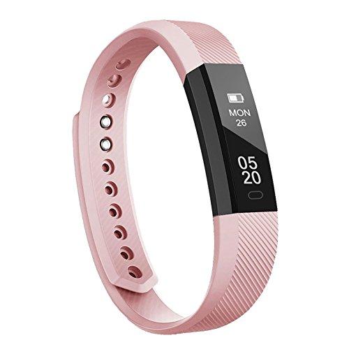 Lintelek Fitness Armband Fitness Tracker wasserdicht Fitness Uhr Aktivity Tracker Schrittzähler Schlaf Monitor Pedometer Kalorie Anrufe/SMS/Whatsapp Vibration Rosa