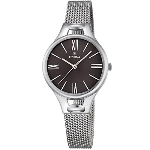 Festina MADEMOISELLE Women's Quartz Watch with Black Dial Analogue Display and Silver Stainless Steel Bracelet F16950/2