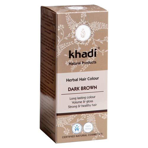 khadi Pflanzenhaarfarbe Dunkelbraun 100g I Haarfarbe Braun mit Henna und Amla I Naturhaarfarbe 100% natürlich und vegan