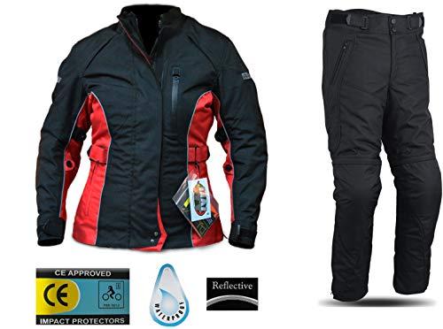 WinNet Completo tuta da moto per donna femminile in cordura giacca e pantaloni per turismo (XS)