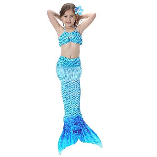 Geschenke Meerjungfrau Schwanz Zum Schwimmender Bikini für Kinder, Badeanzug Kostüm mit Monoflosse (Blau, 120) (Top 10 Einfache Halloween Kostüme)