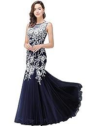 Babyonline® Damen Lang Rosa Lace Masche Meerjungfrau Ohne Arm Abendkleider  Ballkleid Brautjunfernkleider… ef485f8807