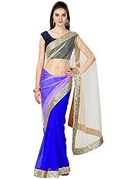 IndoPrimo Women's Net Saree With Blouse Piece (Latest Saree Collecion A49, Blue, Free Size)