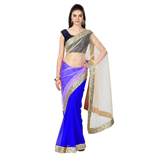 IndoPrimo Net Saree With Blouse Piece (Ra80_Blue_Free Size)