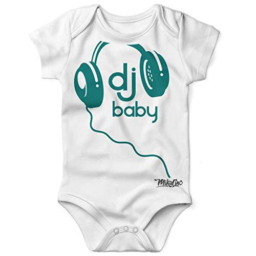 Mikalino Babybody mit Spruch für Jungen Mädchen Unisex Kurzarm DJ Baby | handbedruckt in Deutschland | Handmade with Love, Grösse:56, Farbe:Weiss