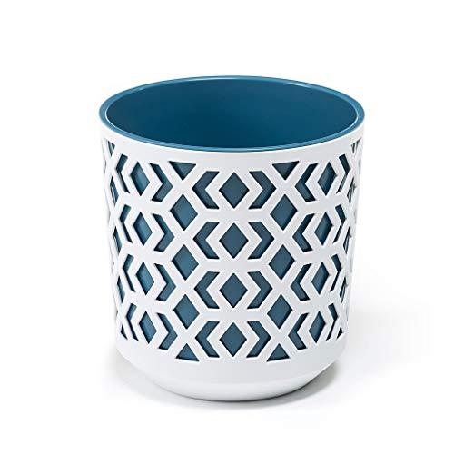 Aztek - Jarrón redondo 250 blanco azul marino 25,5