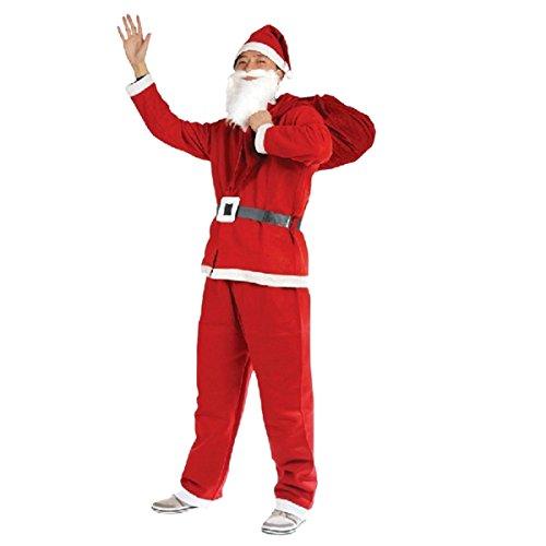 THEE Weihnachtsmann Kostüm 5 Teilige Weihnachten Kostüm Santa Claus Nikolaus Kostüm Verkleidung Geschenk