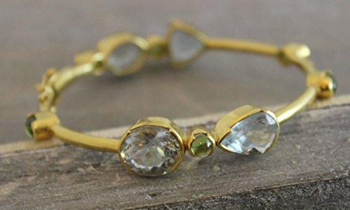Aquamarin und Peridot vergoldet Sterling Silber Armreif