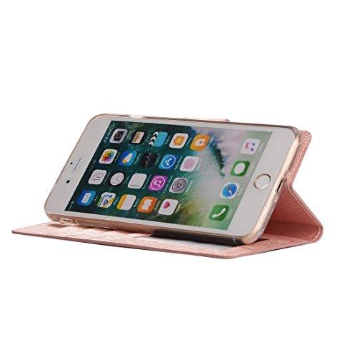 Hülle für iPhone 7 plus , Schutzhülle Für iPhone 7 Plus Silk Texture Horizontale Flip Leder Tasche mit Geldbörse & Halter & Card Slot & Foto Frame ,hülle für iPhone 7 plus , case for iphone 7 plus ( C Rose gold