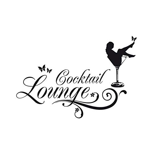 Meaosy Vintage Wandaufkleber Cocktail Lounge Mit Sektglas Wandtattoo Zitate
