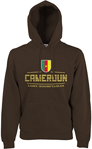 Akytex Kamerun Cameroun Fan Hoodie Kapuzenpullover WM2018 Chocolate S