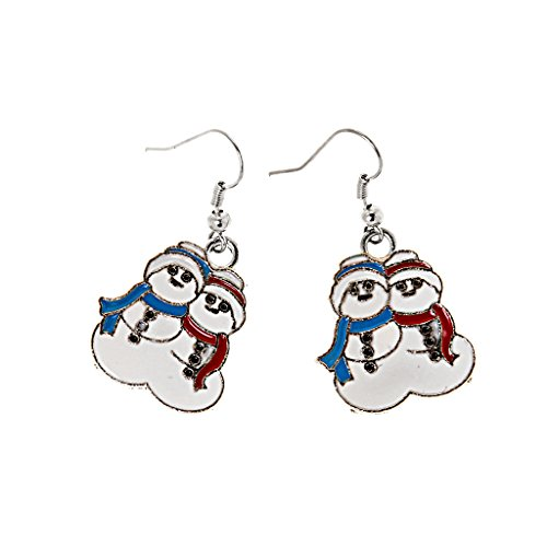ELECTROPRIME Christmas Xmas Cute Snow Man Multicolor Alloy Stud Dangle Girls Earrings