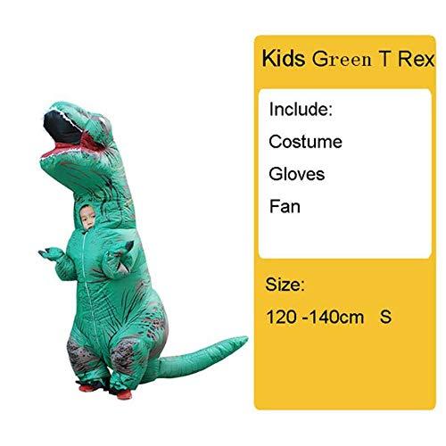 Dinosaurier Kostüm Frauen - GAOXUQIANG Erwachsene Kinder Aufblasbare Dinosaurier Kostüm T REX Frauen Männer Kostüme Dinosaurier Halloween Party Kostüm Anzug Karneval Cosplay,Kidsgreen