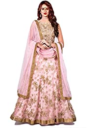 Surat4Fashion Women's Embroidered Net Pink Lehengas Choli(BV101_Pink_Free Size)