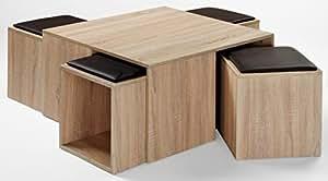Table basse MADDY, coloris Sonoma chêne clair avec 4 poufs, 800 x 800 x 420 mm -PEGANE-