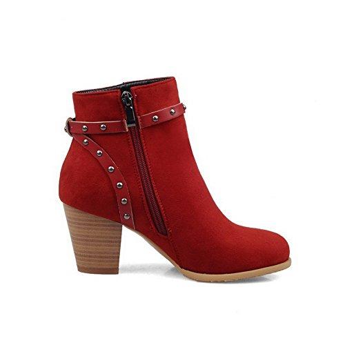 VogueZone009 Damen Nubukleder Niedrig-Spitze Eingelegt Reißverschluss Hoher Absatz Stiefel, Rot, 34