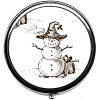 LinJxLee Christmas Snowman Round Pill Case Pill Box Tablet Vitamin Organizer Easy to Carry preisvergleich bei billige-tabletten.eu