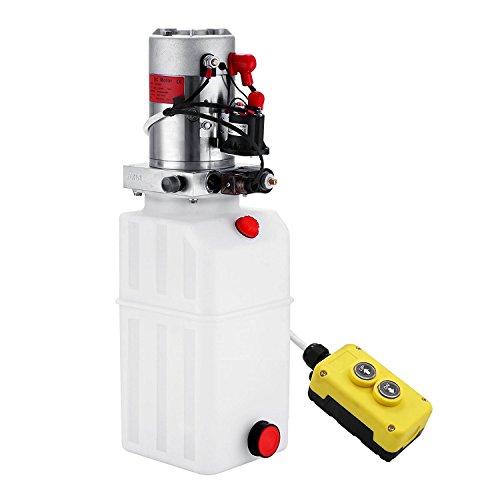 Chrisun Pompe Hydraulique 8L Plastique Agissant Hydraulique Bloc 12V Pompe Hydraulique Electrique (8L)