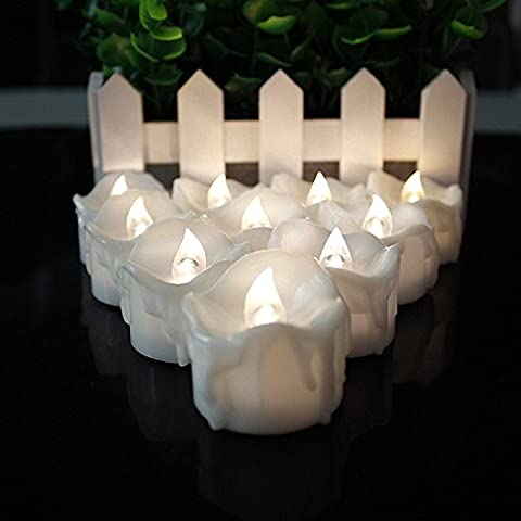 Kalulu Flickering LED Tea Lights Candle Flameless Candles Battery operated for Decoration Wedding/Vanletines/Parties Pack of 12 (Warm White Flickering)